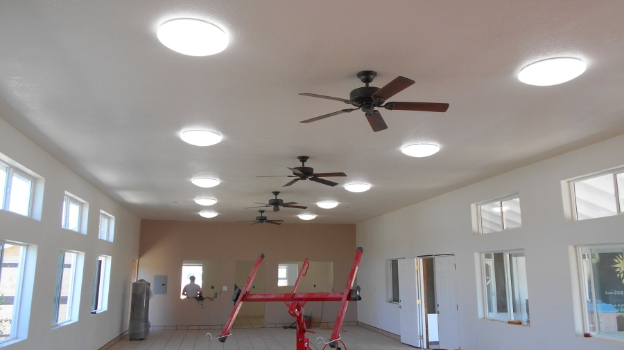 Lights and fans have been installed in the new dining room.